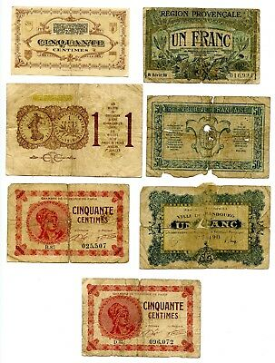 Interesting Lot of Seven France WWI-Era Scrip! Some Better Pieces! Take a L@@K!