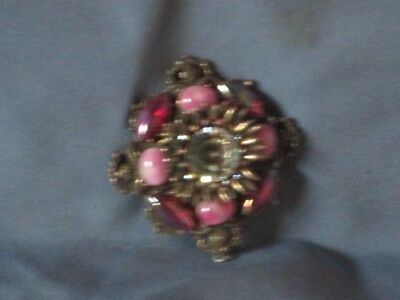 Vintage Gold-Tone Metal Red A/B & Pink Cabochon Red A/B Rhinestone Pin Brooch