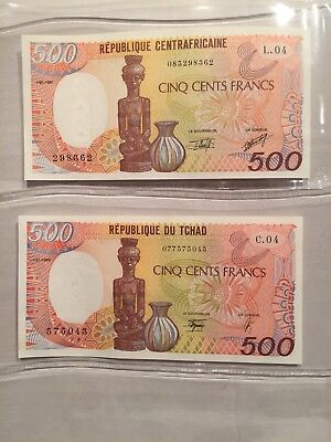 1990 Chad 500 Francs, 1991 Central African Republic 500 Francs. Two UNC Notes.