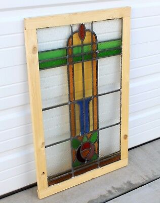Antique English 9-Color Leaded Stained Glass Window Reframed ART DECO
