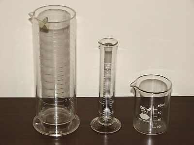 Lot 3 Vtg Darkroom Photography Measuring Cylinder Beaker - Paterson Fisher Kimax