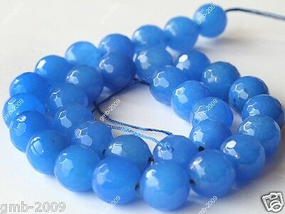 """10mm Natural Faceted Blue Jade Round Gemstone Loose Beads 15""""AAA+"""