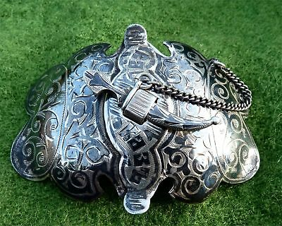 ANTIQUE RUSSIAN IMPERIAL NIELLO SILVER CAUCASUS BELT BUCKLE c1910 - 1.15 troy oz