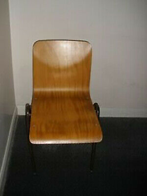 Vtg Mid Century Steelux  School Industrial Stacking Seats Cafe Bar Ply Wood Chai