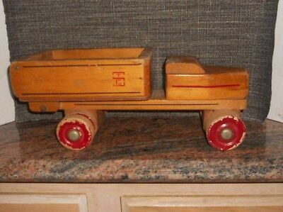Antique Vintage Seaver Toy Company STC Wood Dump Truck, circa  1940's to 1950's