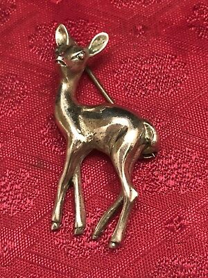 Vtg. Small Silver Colored Deer Pin/Brooch Has unclear markings on the back.