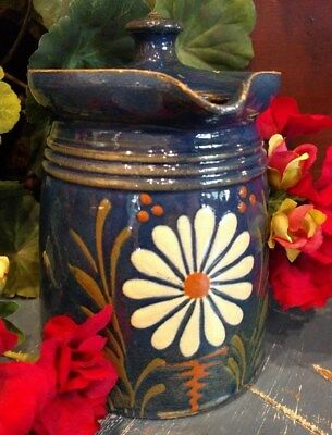 Antique French Alsace France Pottery Blue/ Flower Warm Cozy Kitchen 1880-1900