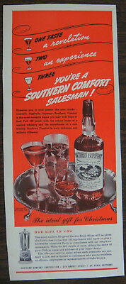 ORIGINAL 1940 Southern Comfort Christmas Time Ad Special Offer for Bar Owners