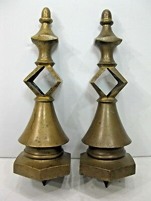 "Set of 2 Heavy Brass Finials 8.25"" Tall Architectural Toppers Gate Fence Post"