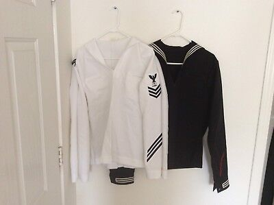 US Navy Lot Of 2 Jumper Tops One Blue One White Both Size 44 Long Authentic