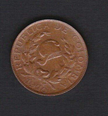 Colombia 1 Centavo 1970 - Copper-clad Stainless steel, Liberty Cap/ Coffee Bean
