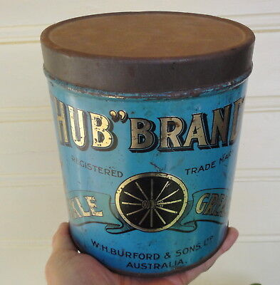 VERY RARE BURFORDS 'HUB' BRAND AXLE GREASE TIN from S.A.?  UNION CAN Co ADELAIDE