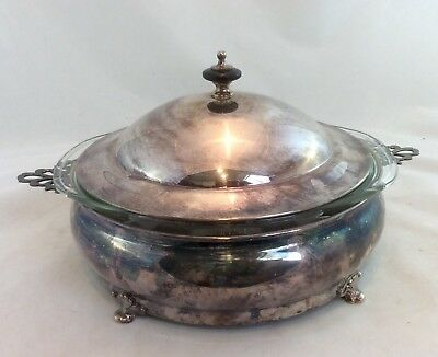 Vintage Pyrex 024 Casserole with Silver Holder and Lid 2 qt clear no 024 Pyrex