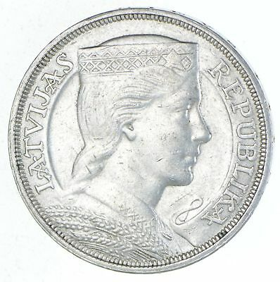 Roughly Size of Silver Dollar - 1931 Latvia 5 Lati - World Silver 25g *616