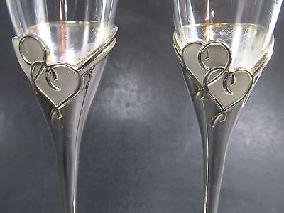 Lenox Crystal & Silver Plate Heart Forevermore Pair Wedding Champagne Flutes