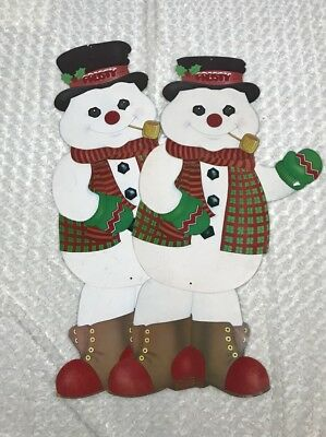 Frosty the Snowman Die Cut Paper Christmas Decoration Lot 2 Large 50s Flocked