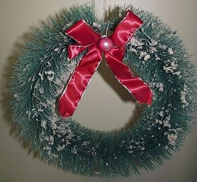 Vintage Bottlebrush flocked Wreath frosted~green~15 inch