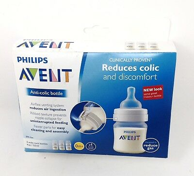 New Philips Avent Anti-Colic Bottle Set 3 Count 4 Oz BPA Free 0 + Months