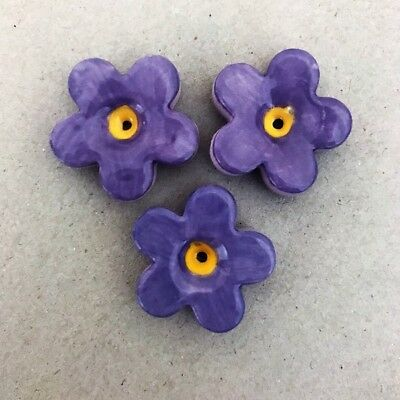 23mm CERAMIC FLOWERS (x3) - Purple ~ Mosaic Inserts, Art, Craft Supplies