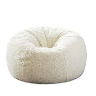Fluffy Bean Bag Chairs for Adults Kids Sofa Couch Cover Berber Fleece  Lounger 0177552b9c645