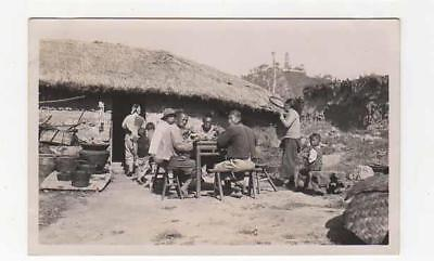 Chinese Family At Outside Meal, C1920, Real Photo Postcard, Ethnographic