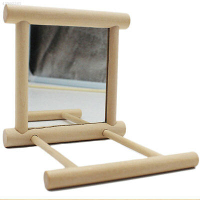 1813 Wooden Bird Toy Mirror Stand Platform For Parrots Cockatiel Decor Gift