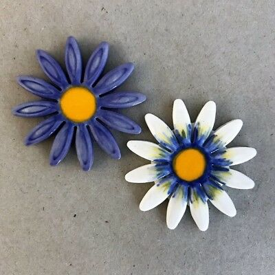 40mm CERAMIC DAISY FLOWER - x2 - Purple White ~ Mosaic Inserts, Art, Craft Su...