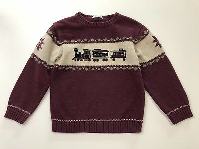 JANIE AND JACK Gift Express Maroon Boys Train Pullover Sweater Size 5T