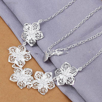 3C17 New Women/Girls 925 Sterling Silver Necklace Flower Pendent Jewelry Gift