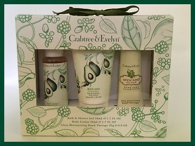 CRABTREE & EVELYN Boxed Gift Set - Avocado - Shower Gel/Lotion/Hand Therapy NEW