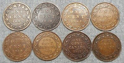 Lot Of 8 Canada Large Cents - 1884, 1900, 1902, Etc.