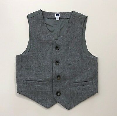 JANIE AND JACK Tartan Party Boys Special Occasion Gray Vest Size 4 4T
