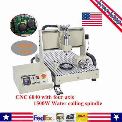 Spindle Machine Parallel 4 axis 6040 1500W CNC Router Engraver Engraving Carving