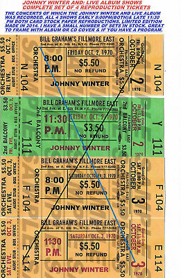Johnny Winter And Live Fillmore East Oct 2-3 1970 Live Album Show Tickets Repro