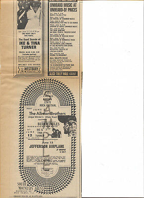 Allman Brothers Jefferson Airplane 1971 Concert Ads Double Side Ad Read