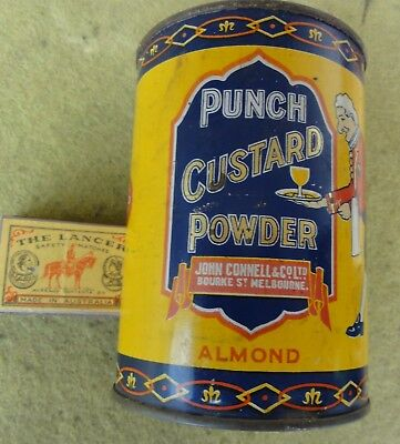 "RARE CONNELL'S 5"" PUNCH CUSTARD POWDER TIN in EC. By J. Marsh of Melb. 1/2 full"