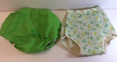 Vintage Baby Clothes-2 Pair Of Rubber Line Rubber Pants