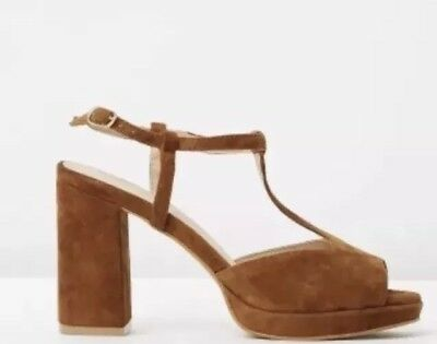 RMK leather Tan PLATFORM PUMPS SIZE 10 41 heels nina Proudman style