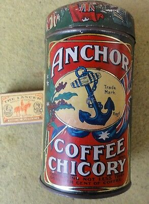 "QUALITY WOODS ANCHOR BRAND COFFEE & CHICORY 1lb TIN.  6 1/2"" TALL.  NICE !!"