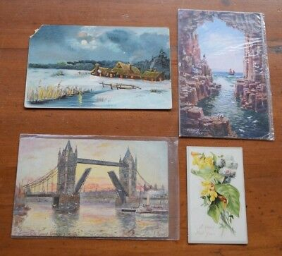 Vintage lot of 3 TUCK Postcards: Snowy Scene, London, Scotland & 1 Greeting Card