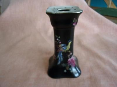Vintage hatpin holder - black with peacock and flowers