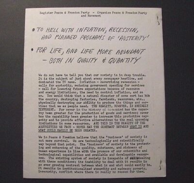*c.1968 PEACE AND FREEDOM PARTY FLYER / BOOKLET – ELDRIDGE CLEAVER – SOCIALISM*