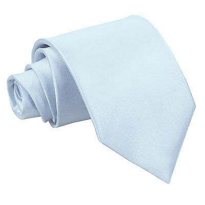 DQT Satin Plain Solid Baby Blue Formal Wedding Mens Classic Tie