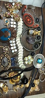 ! Lot Of Vintage Estate Costume & Sterling jewelry bracelets pendants brooches