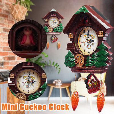 Vintage Wood Cuckoo Clock Forest House Swing Wall Alarm Art Handcraft Room Decor