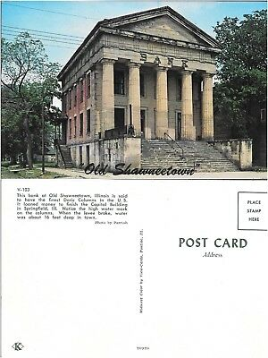 Vtg Postcard Old Shawneetown Illinois Architecture Bank Building View-Cards