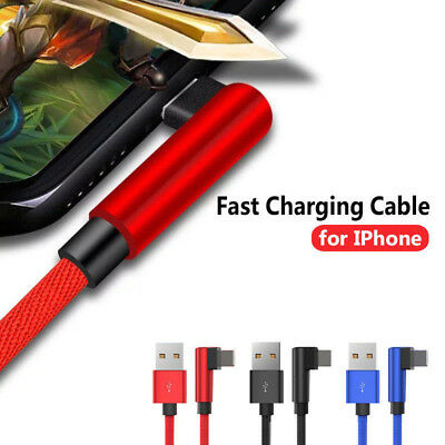 90° Degree USB Data Sync Charging Cable Cord For iPad Mini 2 3 4 iPhone 7 8 X SG