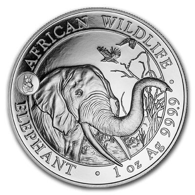 Somalia African Wildlife Elephant Dog Privy 2018 1 oz .9999 Silver Coin