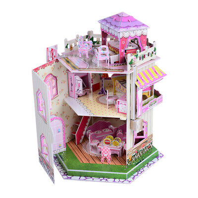 Kids Doll House Furniture Staircase Barbie Light Roof Love Dollhouse UK