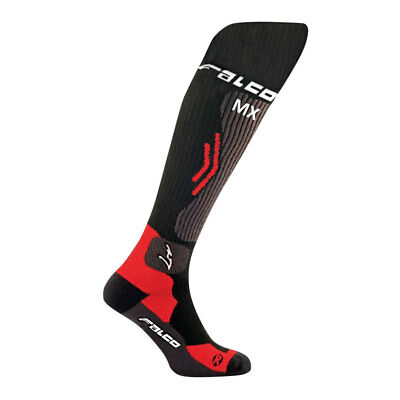 Falco MX Compression Black / Red Moto Motorcycle Motorbike Socks | All Sizes